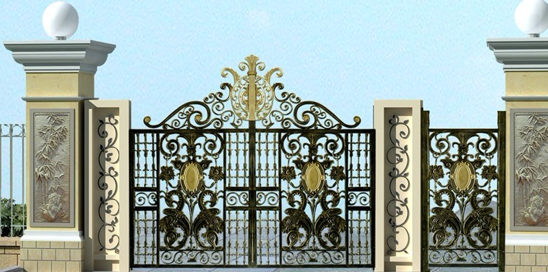 Hench 100% Handmade Forged Custom Designs Iron Porch Gate 8 Foot Metal Gate
