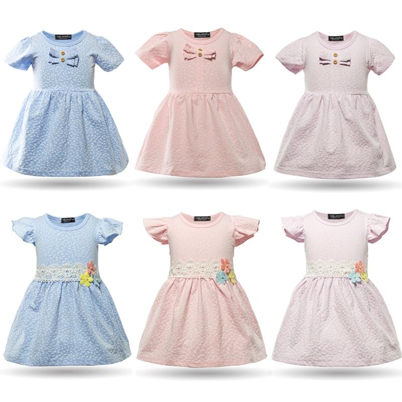 Cielarko 2017 New Fashion Summer Dress Baby Girl Bow Clothing  Infant Cute Petticoat Short Sleeve Leaf Print Dress For Kids 011  girl