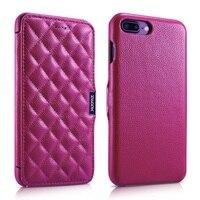 Per iPhone 7 Più 5.5 pollice XOOMZ Rombo Litchi Texture Genuine di cuoio Magnetica Della Copertura Mobile per iPhone 7 Più 5.5-Rosa