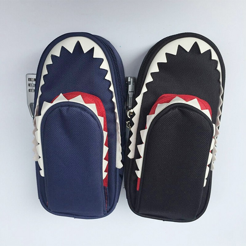 Shark style Oxford pencil bag double zipper large capacity pencil case children pencil bag for school pencil box big capacity high quality canvas shark double layers pen pencil holder makeup case bag for school student with combination coded lock