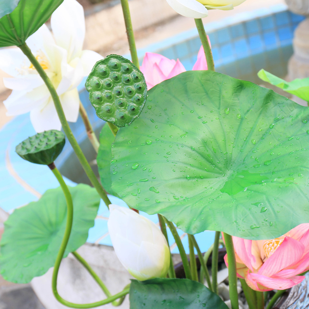 2pcs Artificial Water Lily Pond Plants Lotus Flower Outdoor Plants