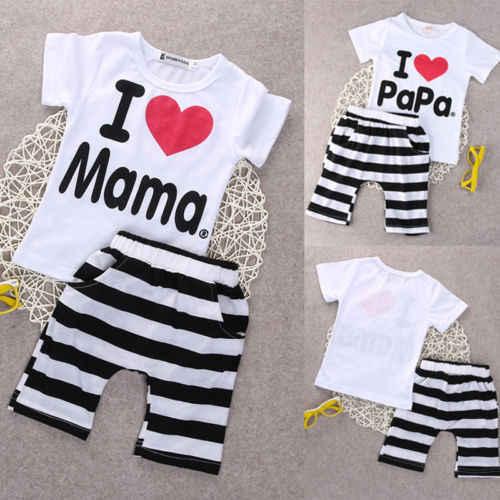 Emmababy verão babt menina menino roupas do miúdo conjunto 2 pçs verão eu amo papai mamãe t camisa superior + calças curtas listrado roupa conjunto