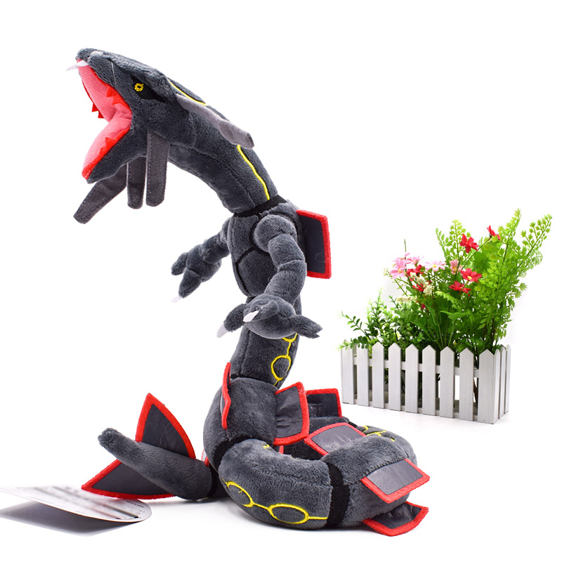 Anime Rayquaza Black Animal Plush Peluche Doll With Skeleton Soft Stuffed Hot Toy Christmas Gift For Children