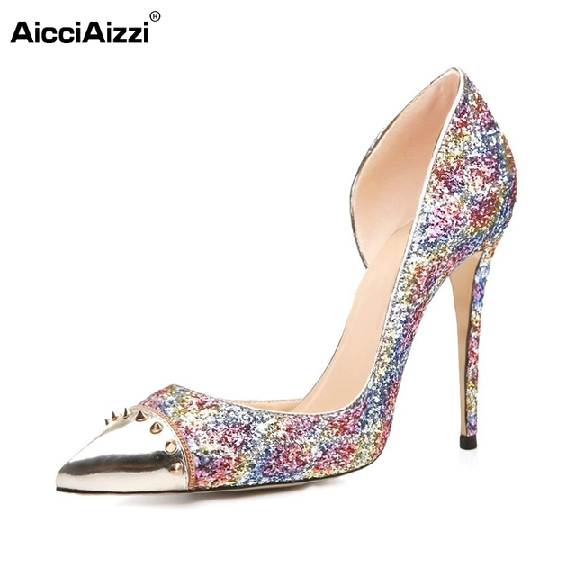 dce6d722e629 Women Pointed Toe Pumps Woman Stylish Rivets Glitter Thin Heels Multicolor  Pumps High-quality Shoes Woman Size 35-46 B102