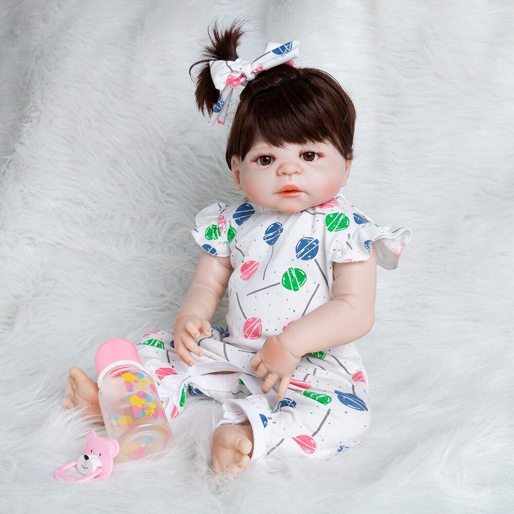 Hot Reborn poupée réaliste Silicone souple Reborn bébé poupées 56cm vinyle jouets grandes poupées pour filles bébé anniversaire poupées avec des vêtements