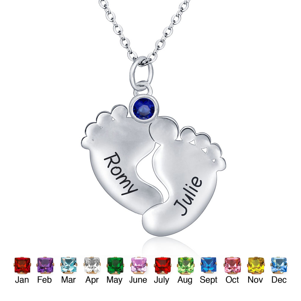 купить Silver 925 Jewelry Necklace Personalized Name Pendants Necklace Natuarl Stones Cute Feet Customized Gift (NE101329) по цене 2003.21 рублей