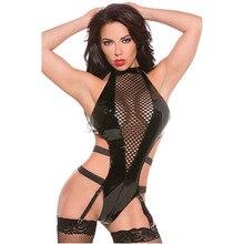 Seductive sexy black mesh patchwork cutout turtleneck halter-neck one-piece bodysuit leather