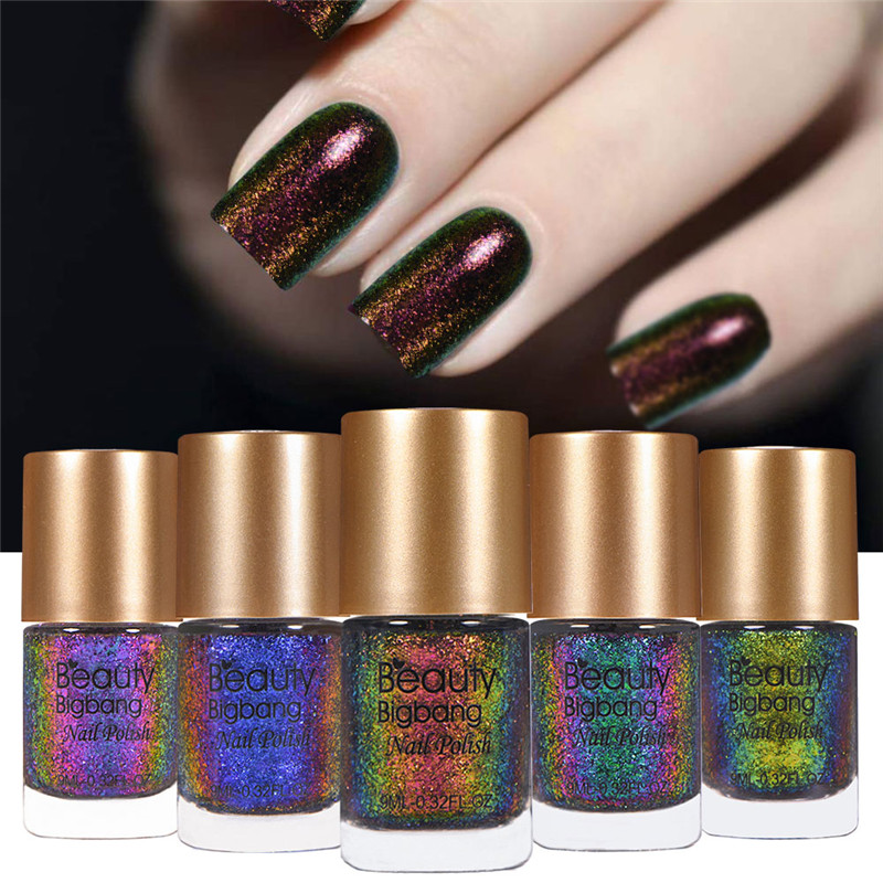 BeautyBigBang 9ml Chameleon Nail Polish Galaxy Glitter Sunset Glow Sequins Holographic Holo Nail Lacquer Varnish nail polish фонарь camelion w 101 лампа переноска