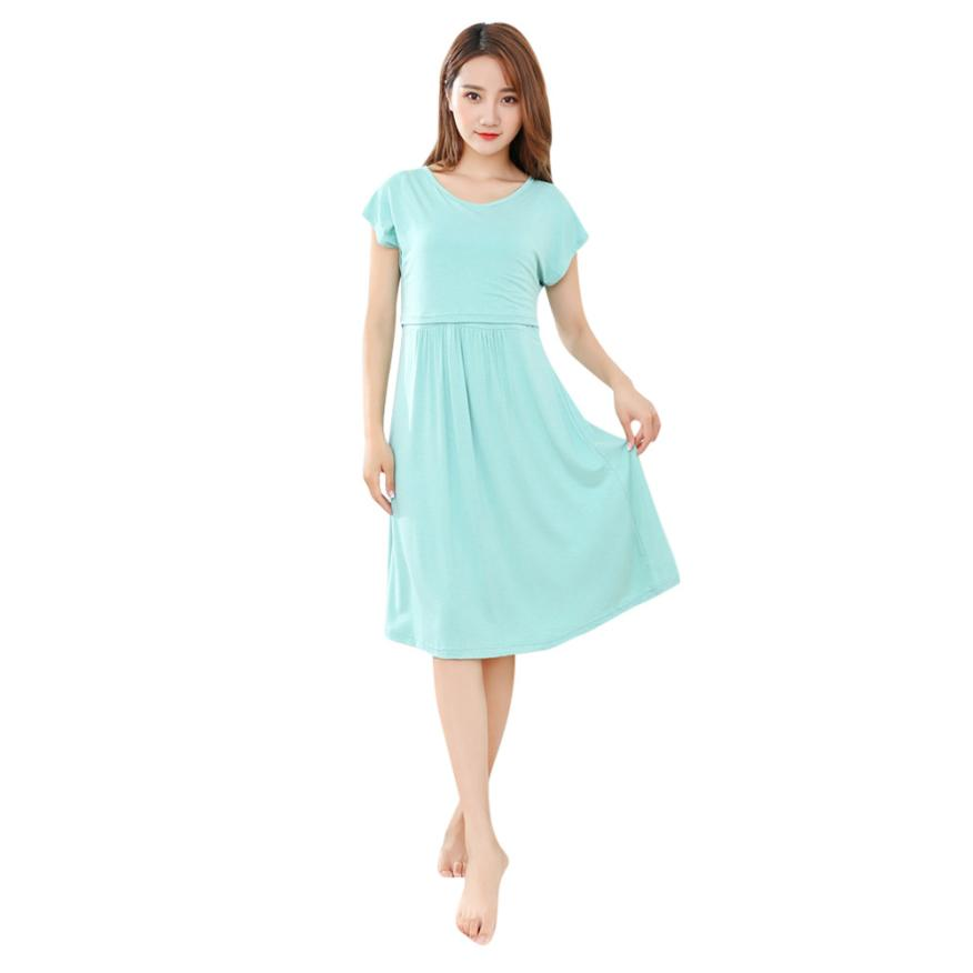 BMF TELOTUNY Fashion Cotton Blend Womens Mother Pregnants Casual Nursing Baby For Maternity Solid Dress Mar23 Drop Ship