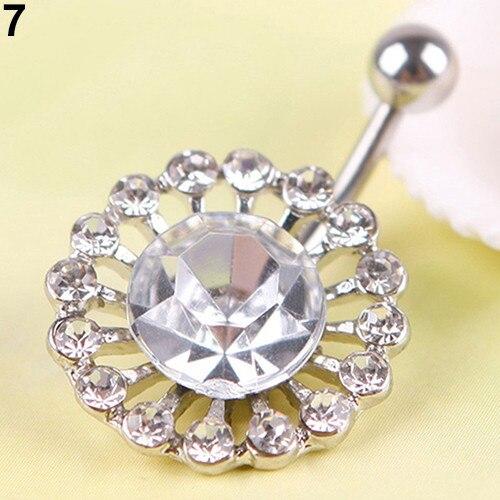 HTB11Q3BPpXXXXXDXVXXq6xXFXXXp Women Body Piercing Jewelry Rhinestone Flower Belly Button Navel Ring - 8 Styles