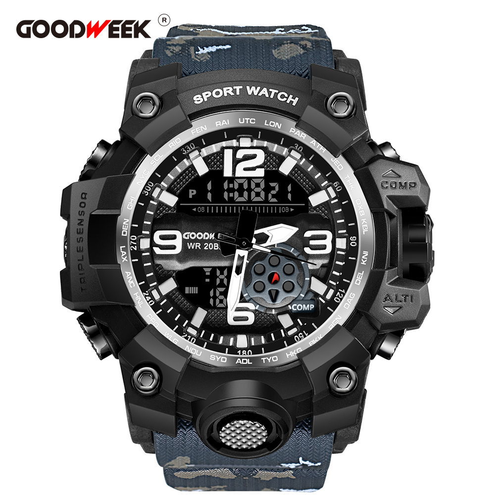 GOODWEEK Men Sports Watches Camouflage Army Military Waterproof Watch Dual Display Watches Shock Resitant Relogios Masculino