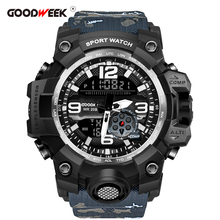 GOODWEEK Men Sports Watches Camouflage Army Military Waterproof Watch Dual Display Shock Resitant Relogios Masculino