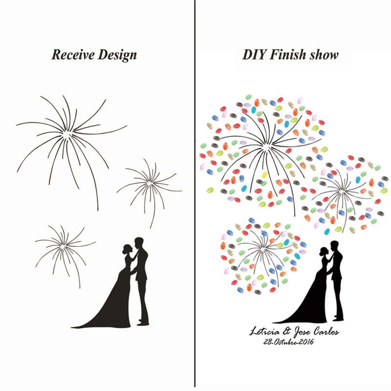 Three Fireworks Fingerprint Attendance Signature Drawing for Wedding Customized Canvas Art Painting Guest Book Special Souvenirs