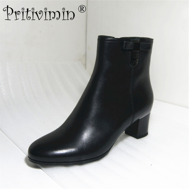 цены Pritivimin FN207 Retro Style Boots High Heels Round Toe Boots Autumn Fleece Shoes Genuine Leather Women Shoes Fashion Ankle Boot