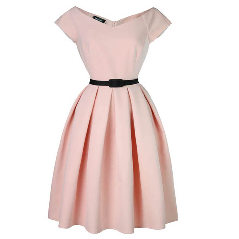 Audrey Hepburn V neck Short Sleeve Slim Dress Wedding Wear Party ...