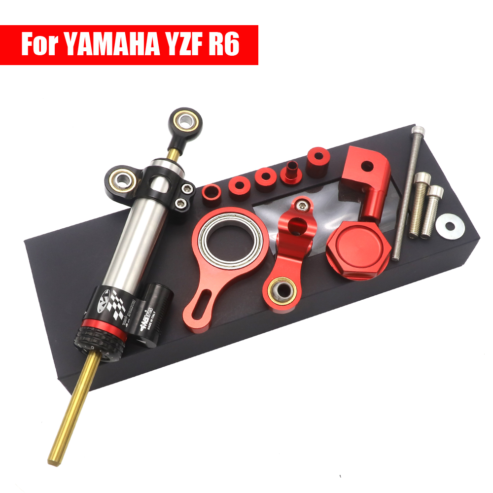 GZYF Racing Bike CNC Aluminum Steering Damper Stabilizer with Mounting Brackets Complete Set Compatible with Yamaha YZF-R1 1999-2005