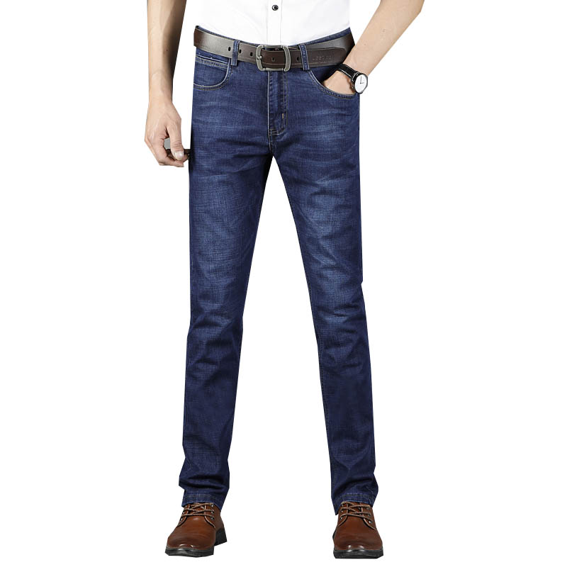 Summer straight loose mens jeans business casual large size stretch thin section fashion casual business stretch leg jeans clas