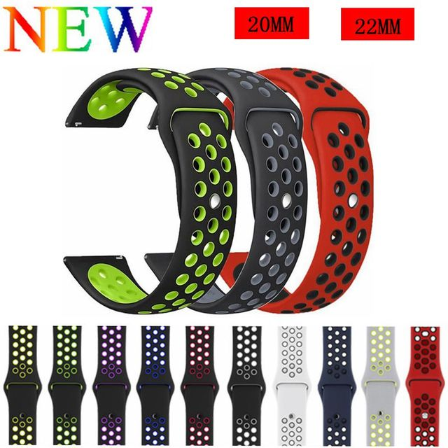 20MM 22MM Silicone Replacement Breathable Watch Band Strap For Garmin vivomove H