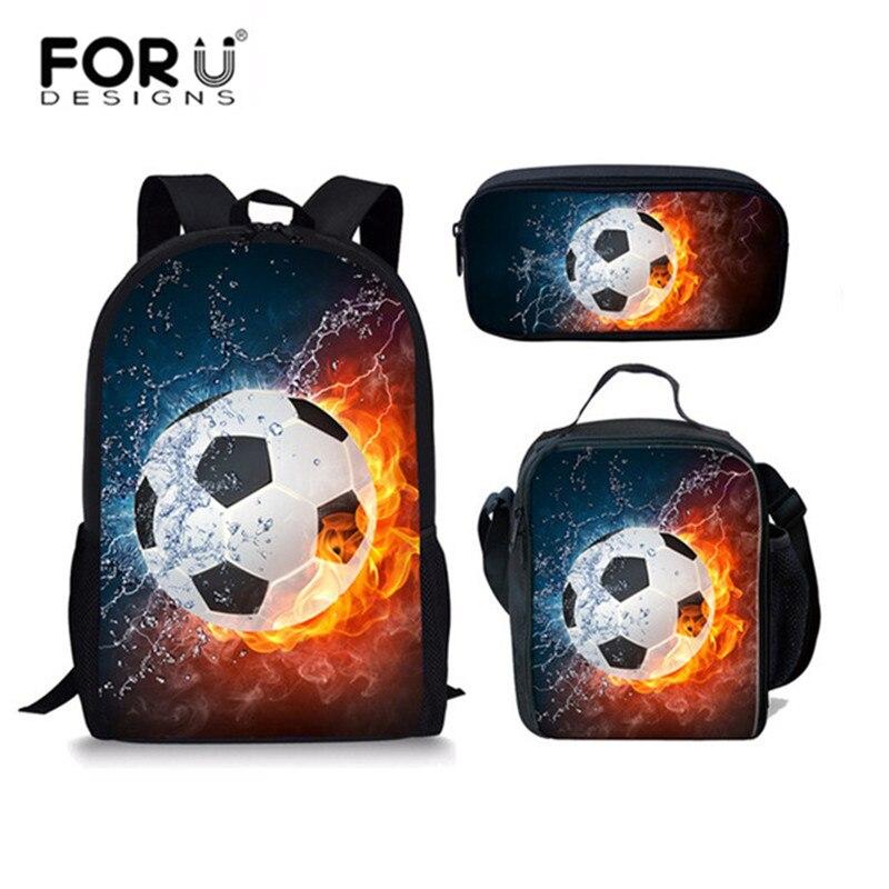 FORUDESIGNS 3 Pcs/set 3D Foot Ball Pattern Children School Bags For Boys Kids Backpack Teenager Schoolbag Girls Mochila Escolar