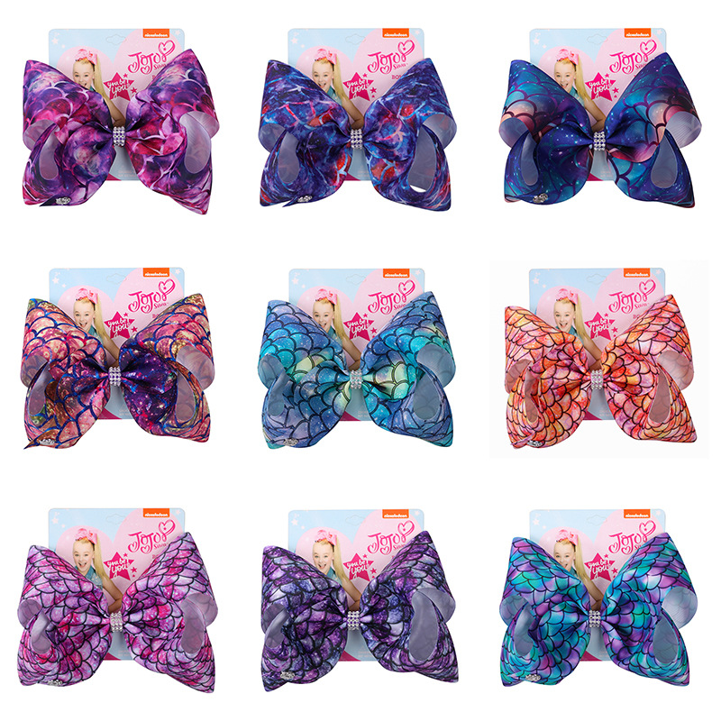 6ps 2019 spring new style Jo jo mermaid series 8 inch big bow hairpin  Dazzle colour with diamand band hair clip