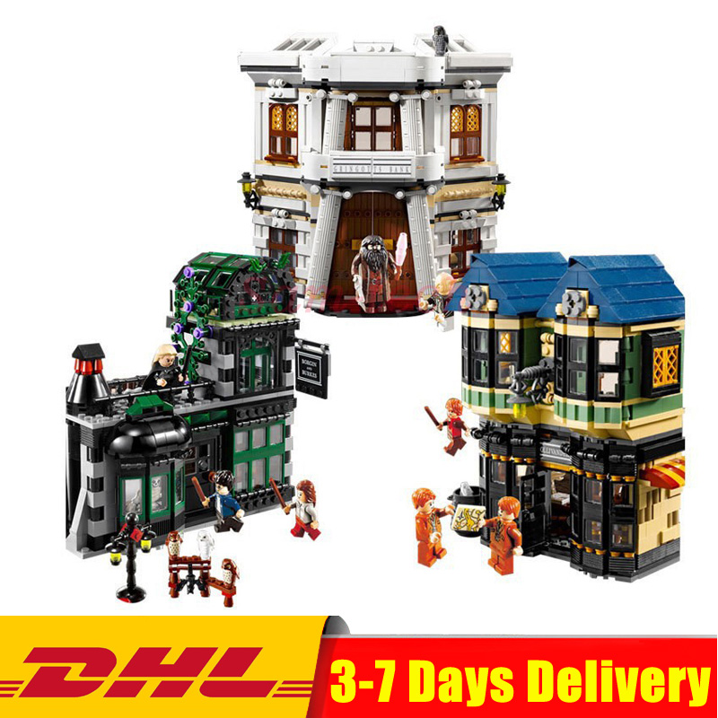 DHL LEPIN 16012 2025pcs Movie Series The Diagon Alley Set 10217 Building Blocks Bricks Educational Model Toys For Children Gifts lepin 07052 1047pcs batcave break in set the genuine model movie building blocks bricks educational toys for children 70909