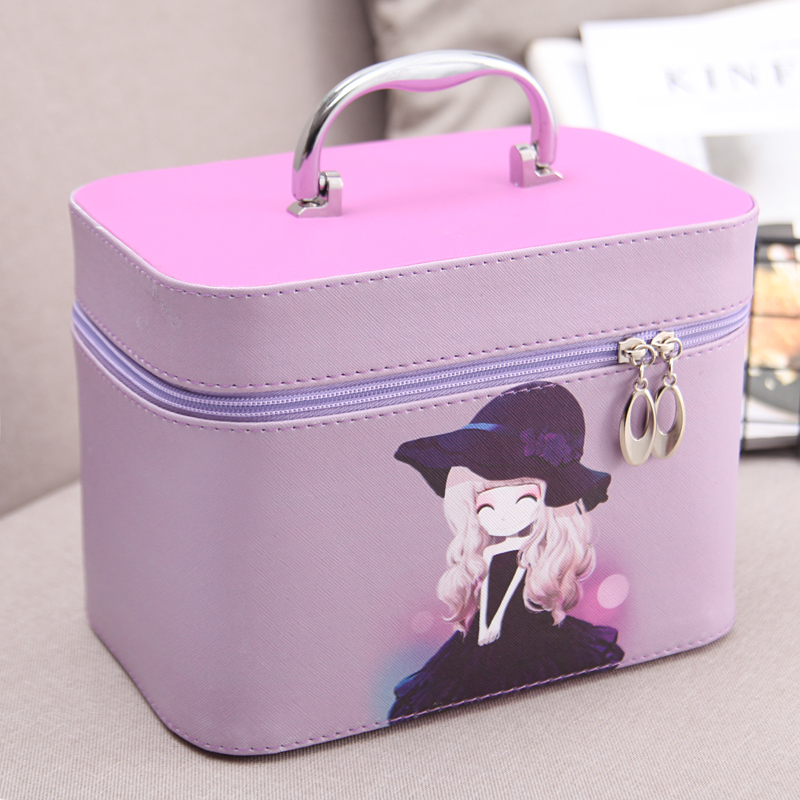 2017 Korean style Cosmetic Makeup Organizer PU Leather Travel Toiletry Bolso Cute Mujer Wash Pouch Bag Portable cosmetic bags