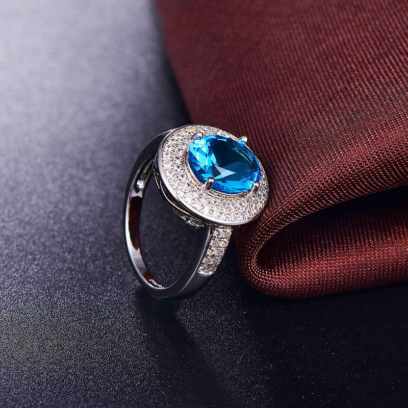 OneRain Vintage 100% 925 Sterling Silver Natural Oval Gemstone Birthstone Wedding Engagement Cocktaill Ring Jewelry Wholesale