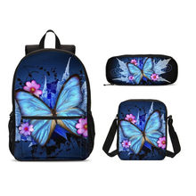 3pc/set Casual Children School Bag Butterfly Prin Set 2019 School Backpack For Teenage Girls Bookbag Laptop Bag Mochila Escolar(China)
