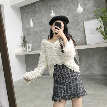 Mini Skirt Winter Vintage Straight Plaid Tassel  1