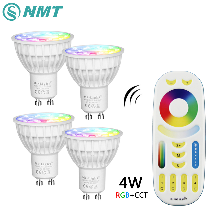 Mi Light Dimmable Led Bulb 4W MR16 GU10 RGB CCT(2700-6500K) led Lamps Indoor Decoration + 2.4G RF LED Remote Control led bulb 12w mi light e27 dimmable led bulb light rgb warm white white rgb cct spotlight indoor decoration ac85 265v