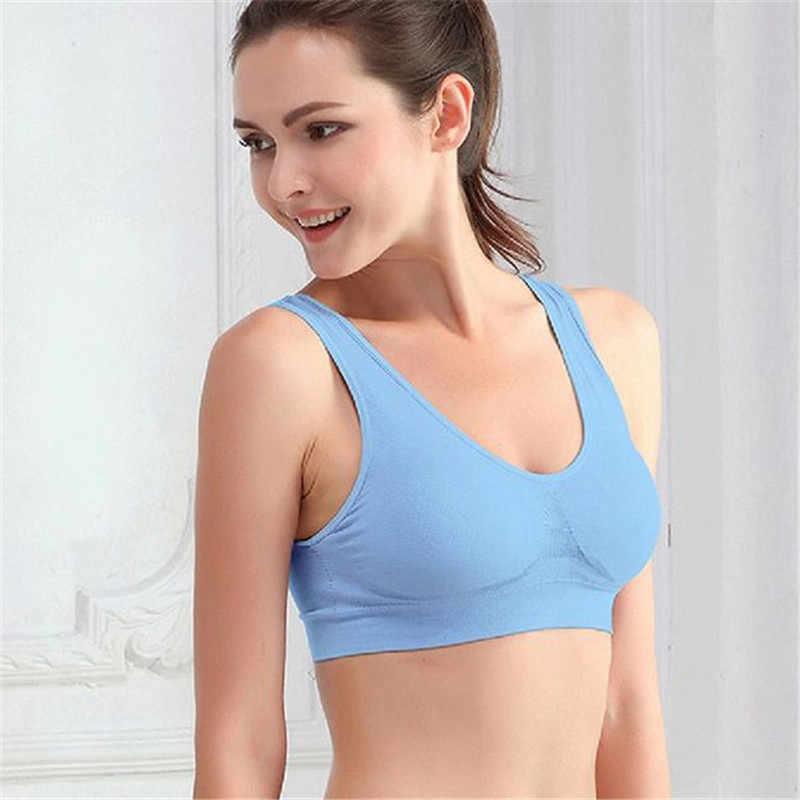 4c9a8fb3b9 ... High Quality Women Seamless Wire Free Padded Crop Top Fitness Vest Tank  Comfort Yoga Sport Bra ...