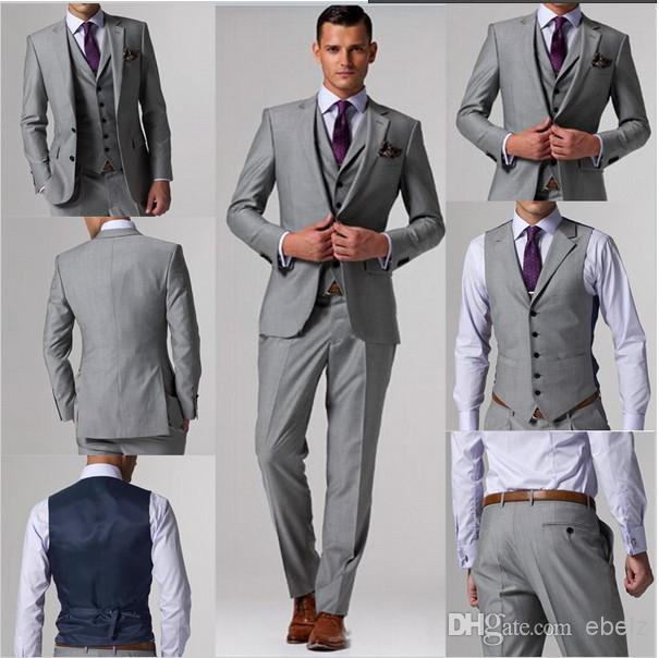 Ustom Made Suits Free Shipping Light Grey Groom Tuxedos Custom Wedding Wear Dress Vest