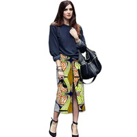 Elegant Front Kick Pleat Womens African Skirt Colorful African Print Element Dashiki Clothing Tailor Custom