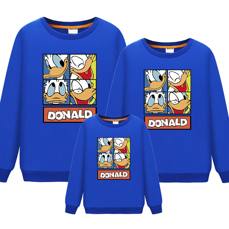 2019 Family Matching Outfits Long Sleeves Cartoon Donald Duck T-Shirt Father Mother Daughter Son Sweatshirts Dad Mom Sweatshirt