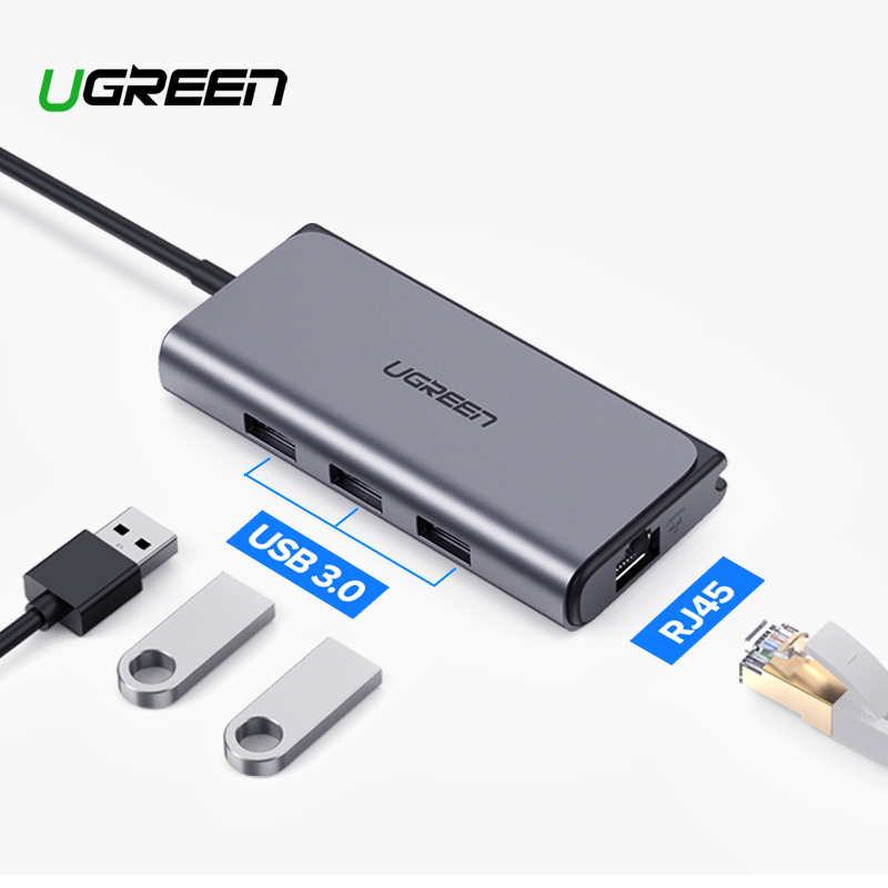 Ugreen USB C HUB Ethernet USB-C To Multi USB 3.0 RJ45 Network Adapter Dock For MacBook Pro USB3.0 3.1 Splitter Port Type C HUB