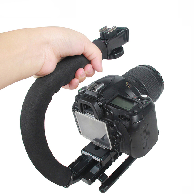 C-Grip Hot Shoe Mount Video Stabilizer Handle Grip Rig for Canon Nikon Sony DSLR Camera for iPhone 7 plus Smartphone DV