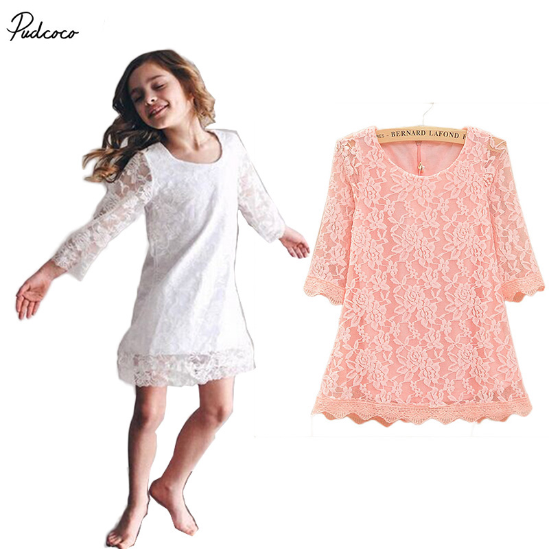 2017 Hot Summer Kids Baby Girls Half Sleeve Princess Lace Tutu Dress Party Print Formal cotton Dress 2-7Y new 2017 baby girls lace dress kids summer white dress children half sleeve dress toddler dress 2 7y 2061