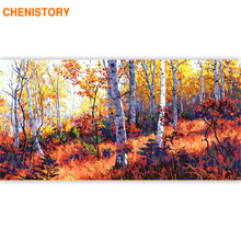 CHENISTORY Large Size 60x120cm Frame DIY Painting By Numbers Forest Landscape Acrylic Paint By Numbers Calligraphy Painting Arts(China)