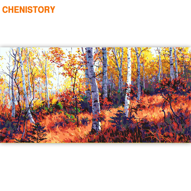 CHENISTORY Large Size 60x120cm Frame DIY Painting By Numbers Forest Landscape Acrylic Paint By Numbers Calligraphy Painting Arts