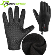 2017 RockBros winter Cycling Gloves Long Finger Men Mtb warm themal touch screen gloves windproof gloves bicycle accessories