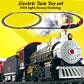 Classical Electric train track set kids toys with sound light and realistic smoke steam brinquedo menino