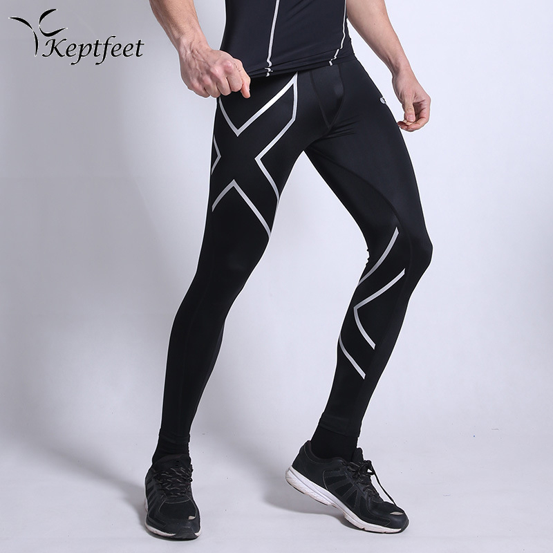 Hot Skinny Running Tights Compression Men's Long Pants Spandex Solid Color Quick-dry Running Fitness Soccer Pants M-3XL self tie solid skinny pants