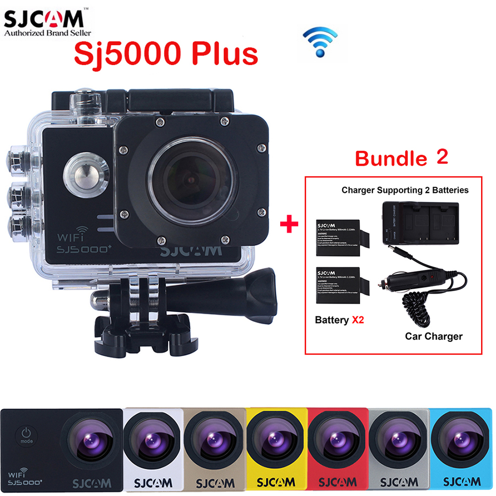 Original SJCAM SJ5000 Plus WiFi Waterproof Sports Action Camera Sj 5000 plus Cam DVR With Extra 2 Battery+Dual Wall+Car Charger original sjcam m20 wifi 4k 24fps 30m waterproof sports action camera sj cam dvr 2 extra battery dual charger remote monopod