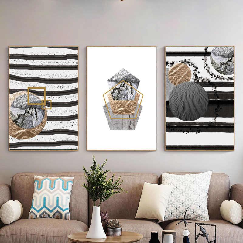 Абстрактная мраморная Геометрическая Картина на холсте пятиугольник круг плакаты и принты Современная Гостиная настенный Декор картина