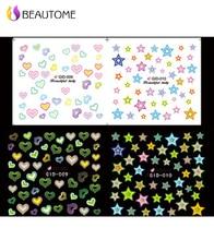 1 hoja Glow In The Dark Precioso Nail Art Water Transfer Stickers Decals Decoración Diseño Del Corazón Decoraciones Luminosas!