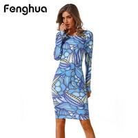 Fenghua Fashion Summer Dress Women 2018 Casual Spring Long Sleeve Dress High Elastic Floral Bodycon Sexy