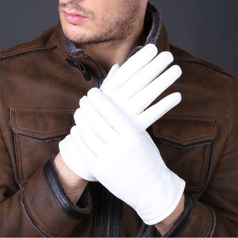2020 Fashion Special Offer Genuine Leather White Gloves For Women Man Solid Wrist Buttons Female Lambskin Driving Glove