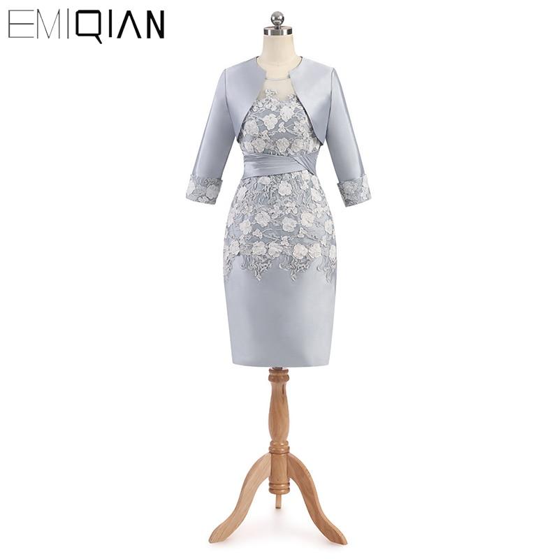 Meilleure vente gaine mère de la mariée robes avec trois quarts manches genou longueur élégante dentelle femmes robe de soirée