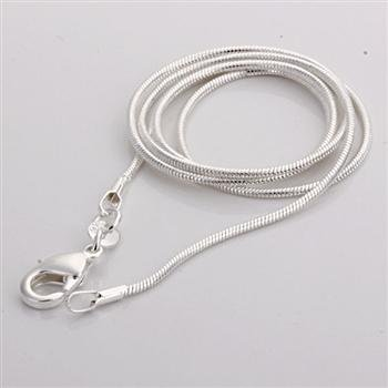 "C008 Cheap Hot 1MM Thin Top quality 925 stamped silver plated Snake Chain Jewelry Findings 16""18""20""22""24"" Wholesale price"