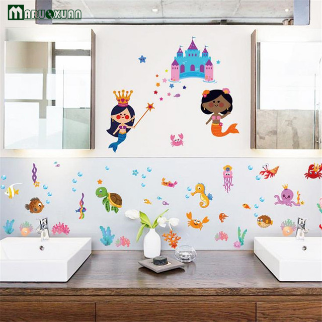 YunXi Cartoon Underwater World Castle Mermaid Stickers Kids Room Bathroom Background Decorative Pvc Wall 96